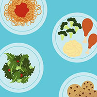 Graphic art depicting food on plates