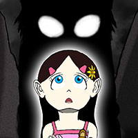 Cartoon girl with eyes looking over her