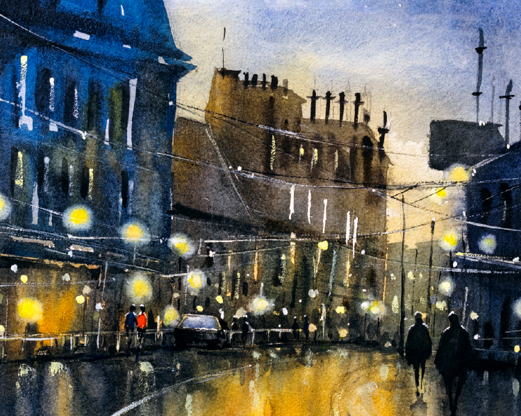 painting of street at night